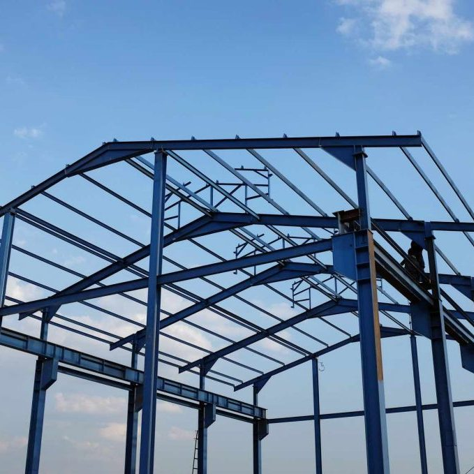 Steel structure of a new industrial building